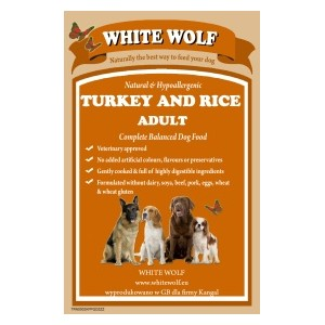 WhiteWolf Naturals Turkey & Rice 12 kg